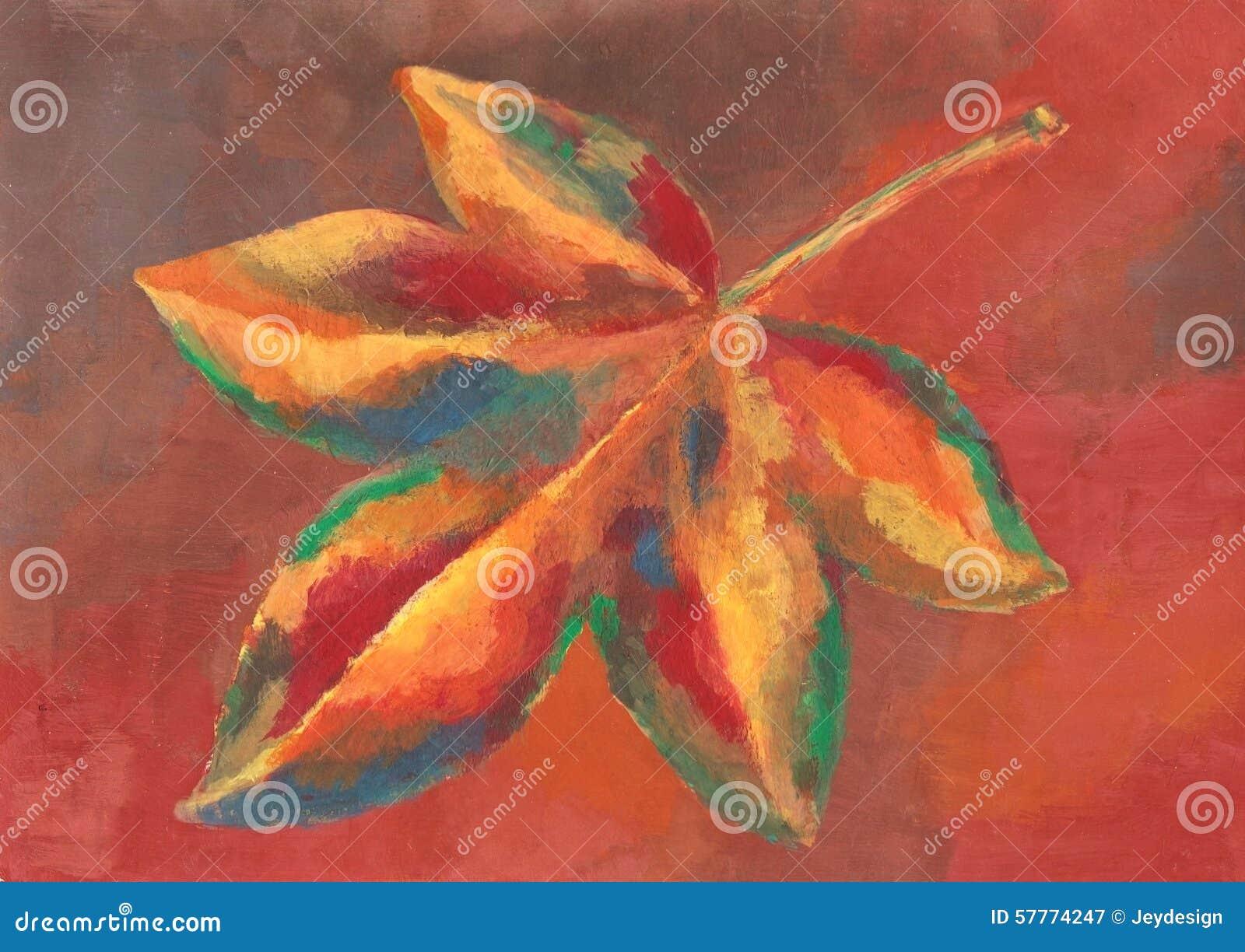 Het schilderen van kleurrijk de herfstblad stock illustratie ...