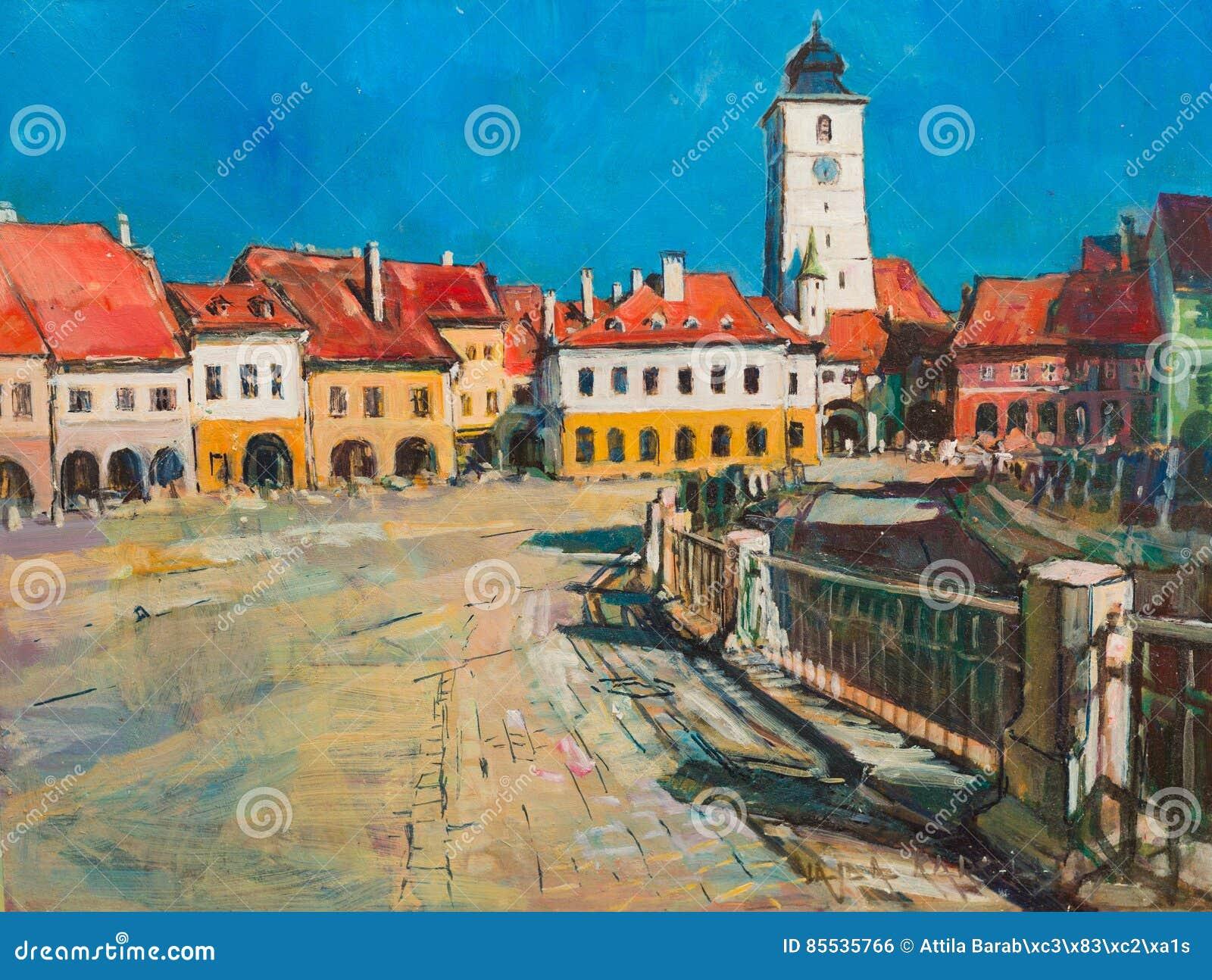 Het schilderen van Sibiu