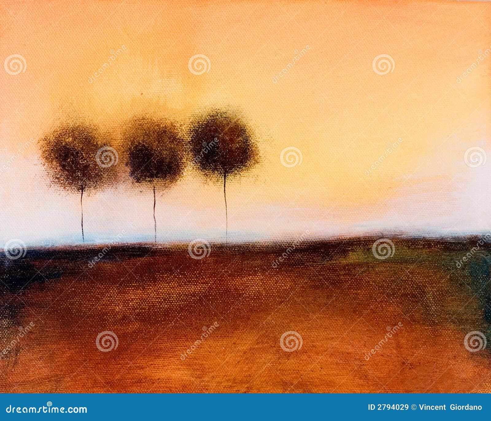 Het schilderen van van 3 bomen