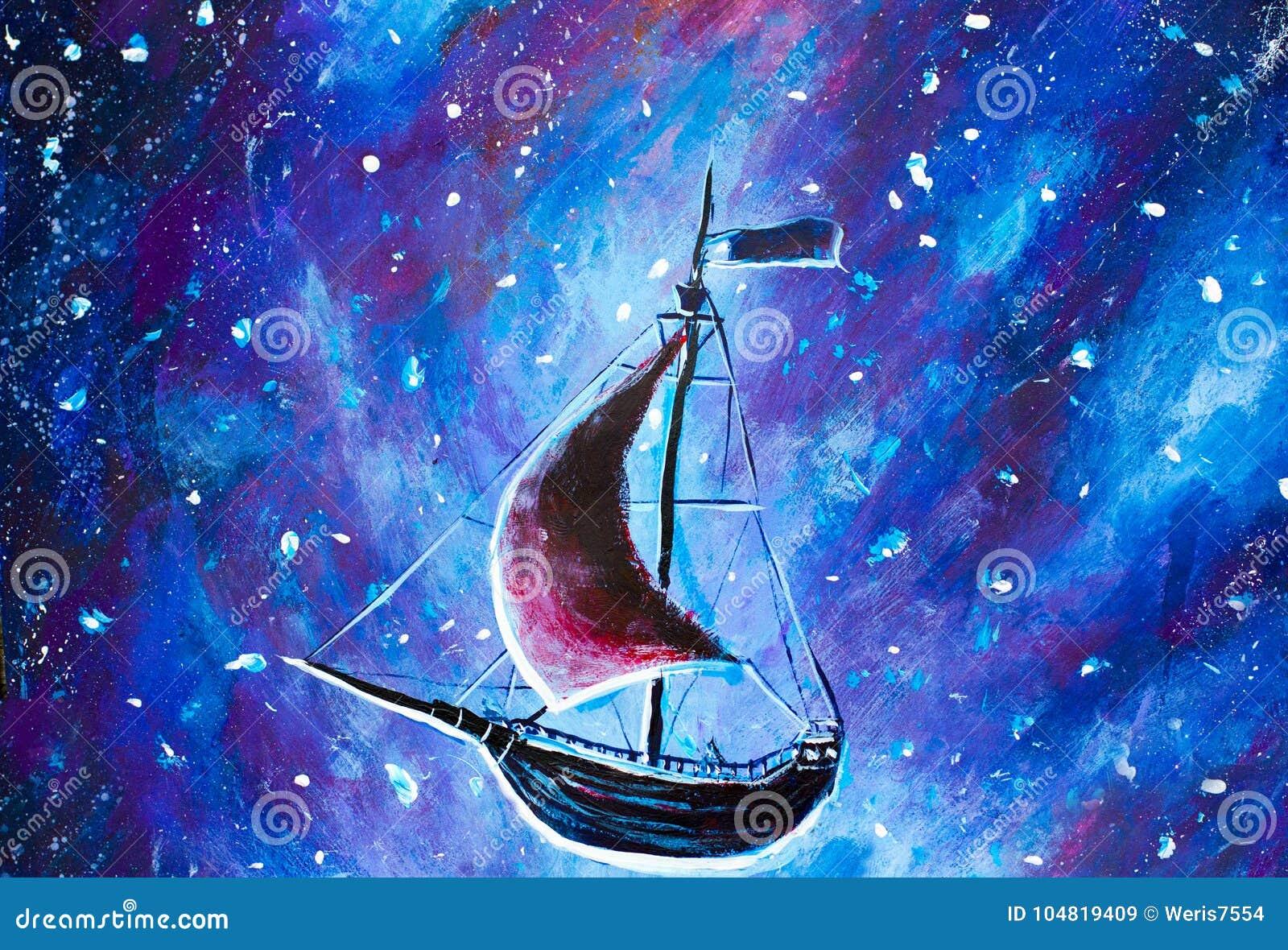 Het schilderen Vliegend een oud piraatschip Het overzeese schip vliegt boven sterrige hemel Een sprookje, een droom Peter pan Ill