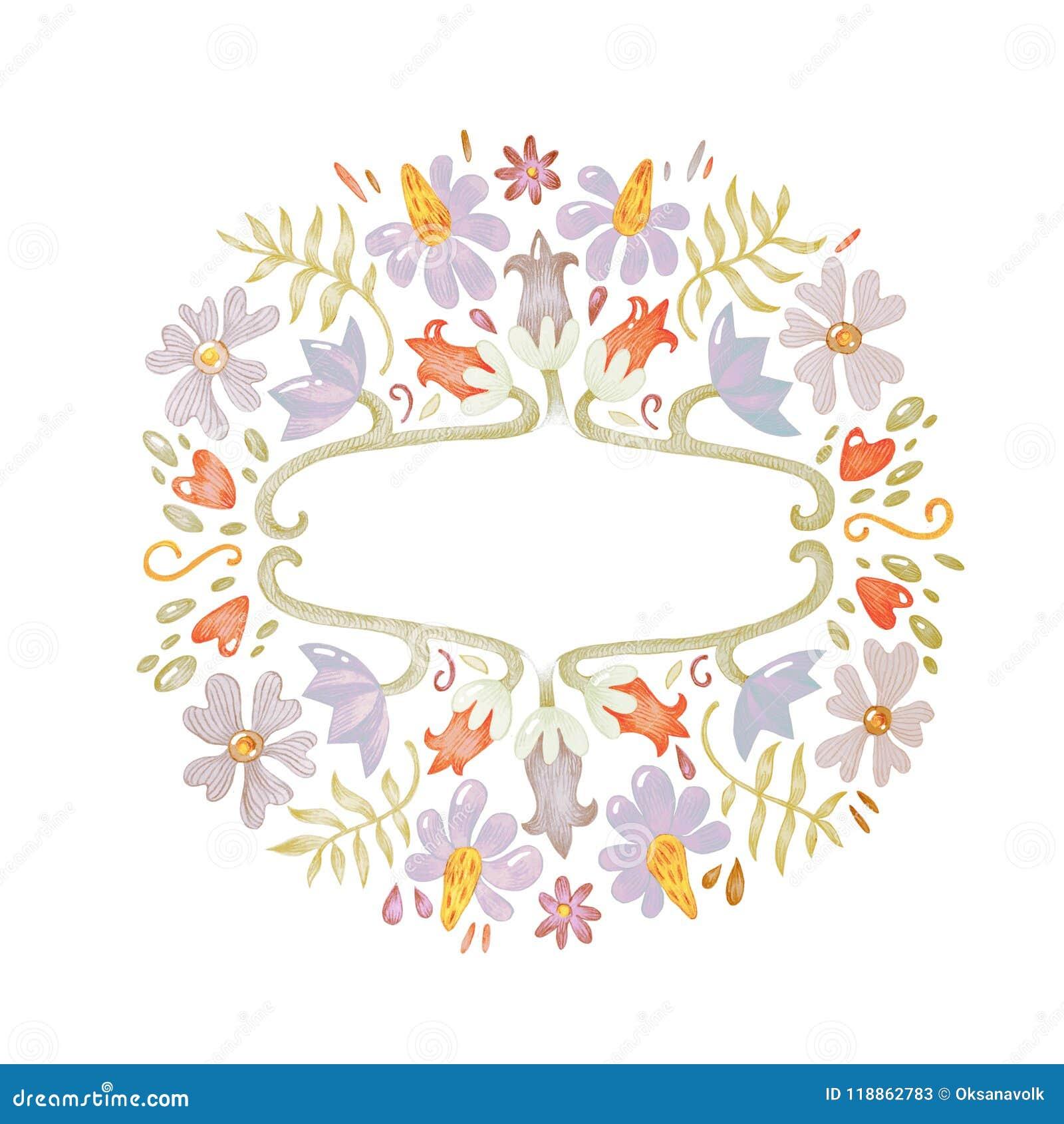 Het schitterende mooie hand getrokken van de de tekeningsillustratie van de potloodschets bloemen feestelijke botanische kader