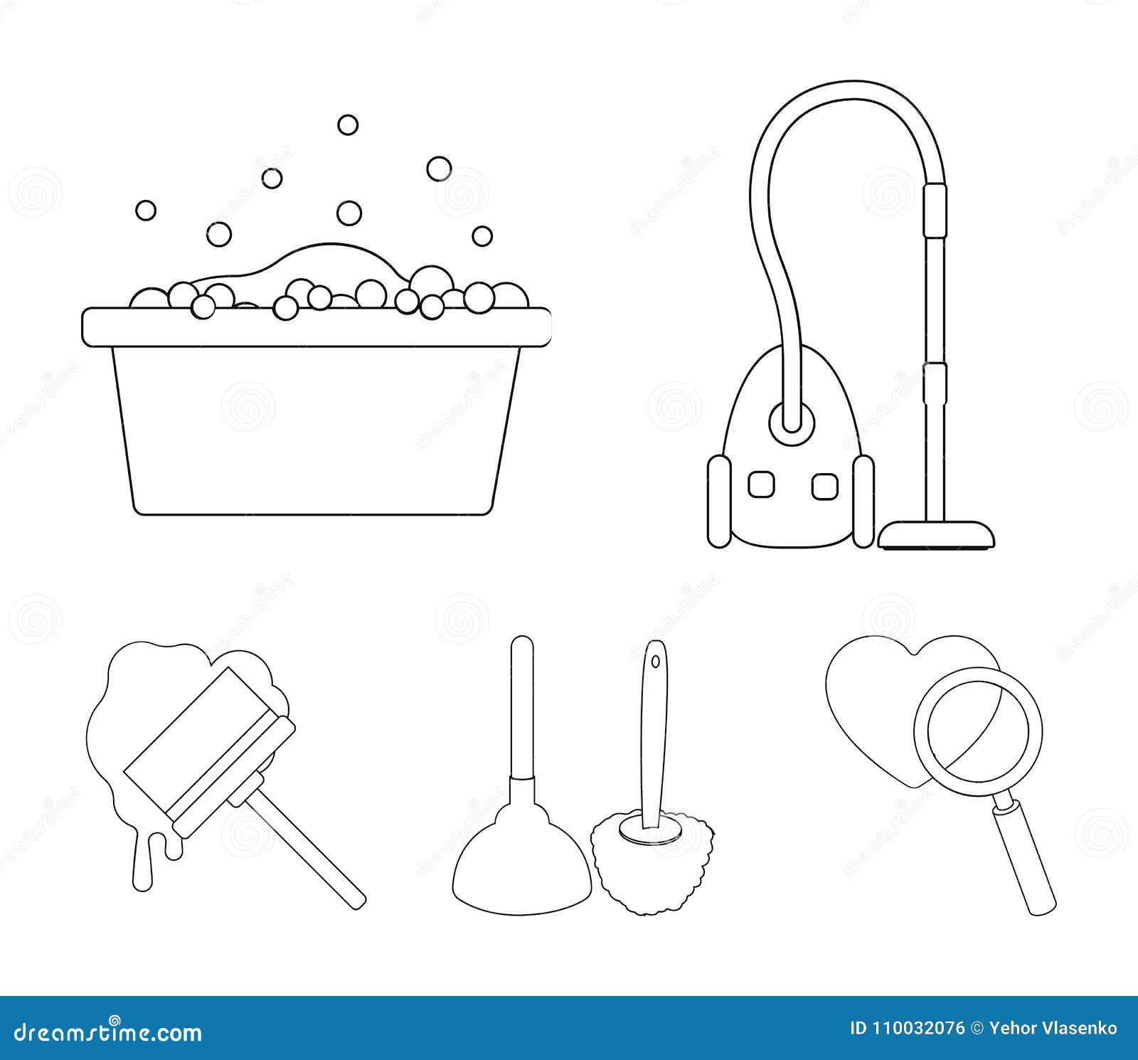 Het schoonmaken en meisjeoverzichtspictogrammen in vastgestelde inzameling voor ontwerp Materiaal voor het schoonmaken het vector