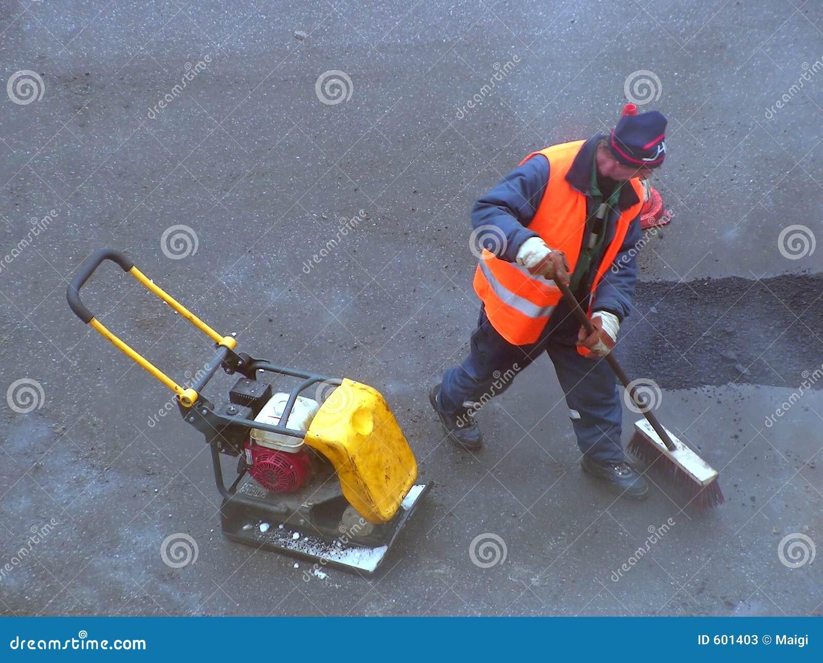 Het schoonmaken van de weg
