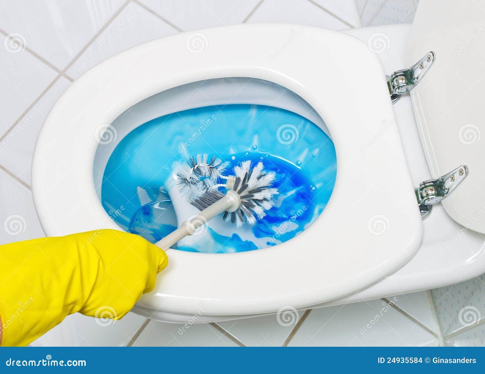 Het Schoonmaken Van Het Toilet Stock Foto Afbeelding