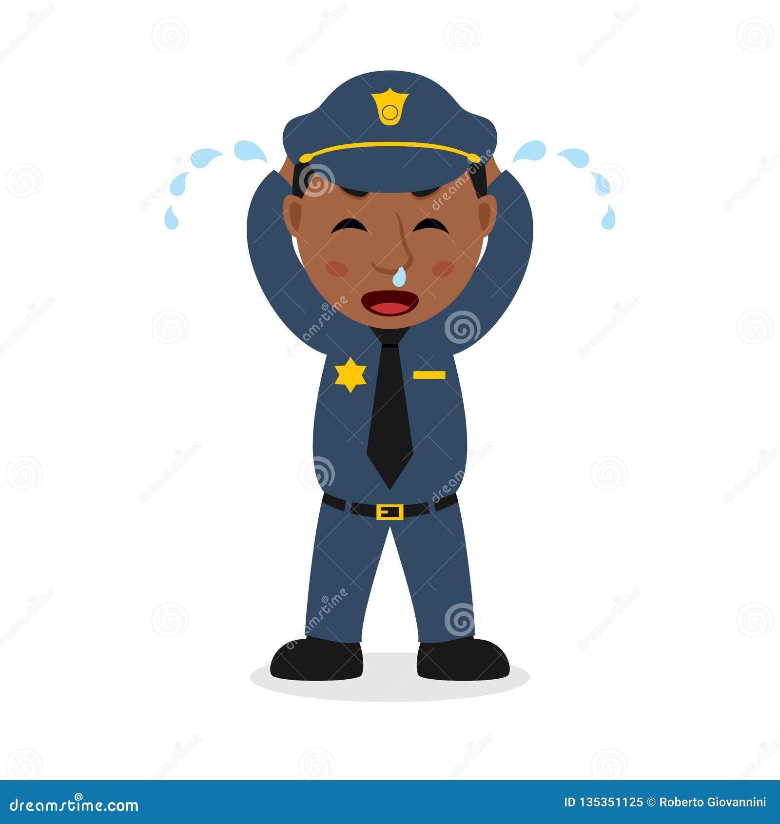 Het schreeuwende Zwarte Karakter van het Politieagentbeeldverhaal