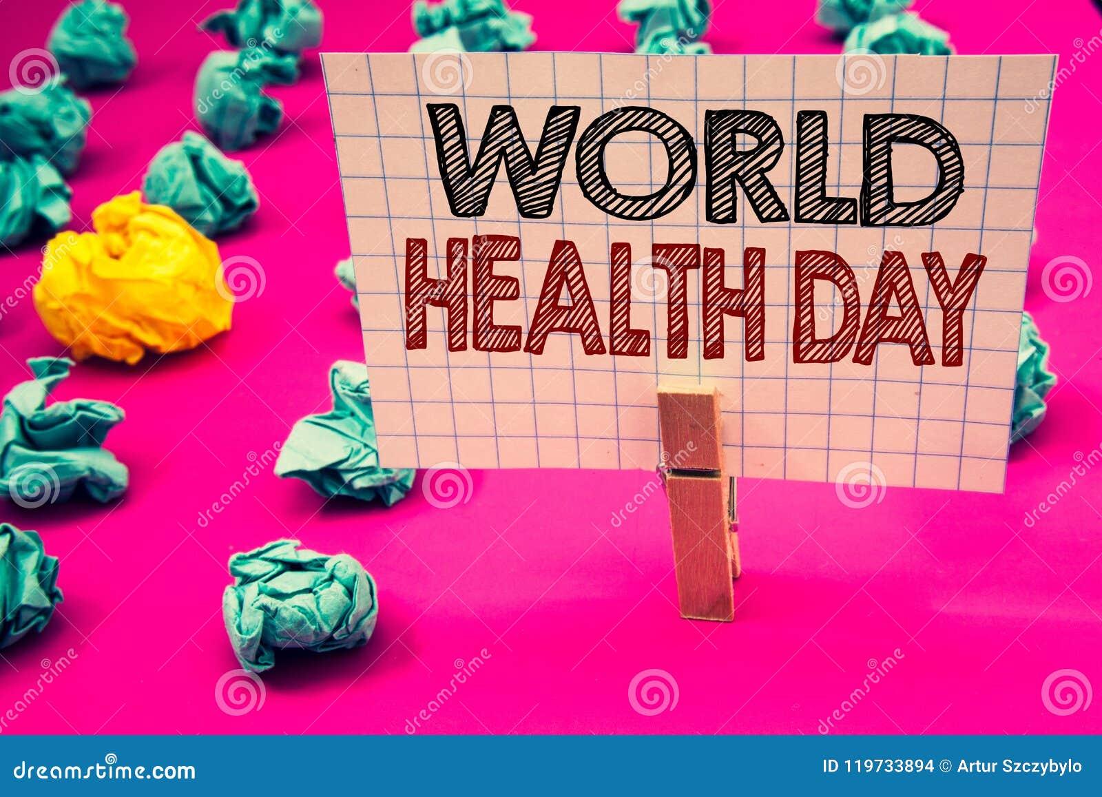 Het schrijven nota die de Dag van de Wereldgezondheid tonen Bedrijfsfoto die Speciale Datum voor Gezonde de Preventiewasknijper h