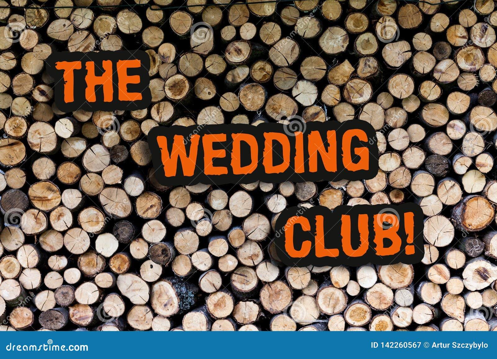 Het schrijven nota die de Huwelijksclub toont De bedrijfsfoto demonstratieplaats waar het paar grote partij die werpt huwde krijg
