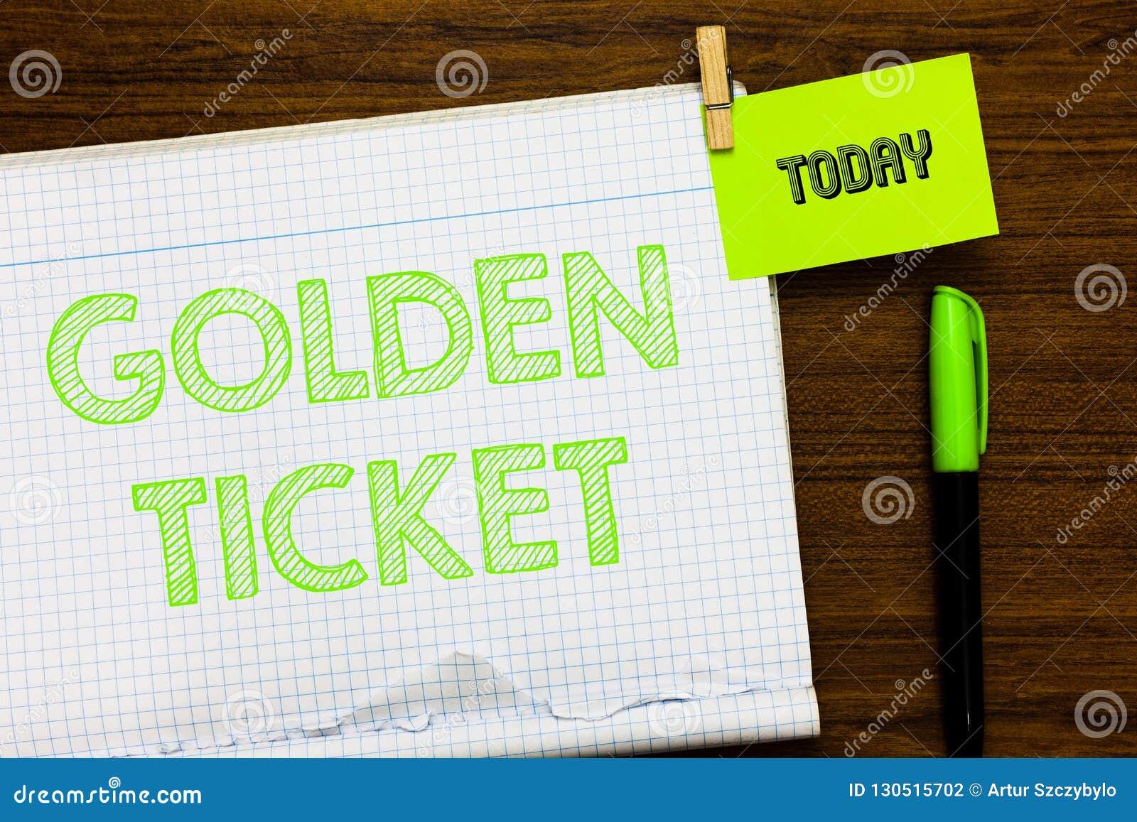 Het schrijven nota die Gouden Kaartje tonen VIP van de de Controletoegang van de bedrijfsfoto demonstratieregen de Gebeurtenis Op