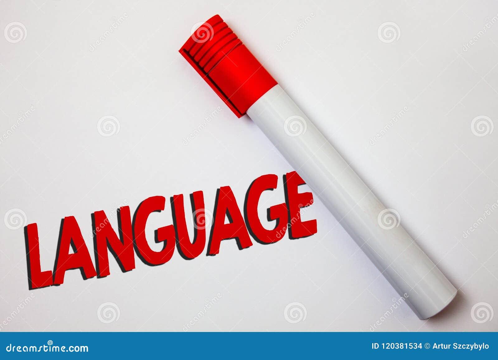 Het schrijven nota die Taal tonen Bedrijfsfoto demonstratiemethode van de menselijke mededeling Gesproken Geschreven Uitdrukking