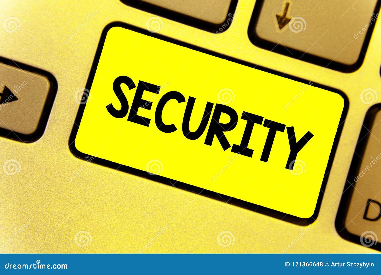 Het schrijven nota die Veiligheid tonen Bedrijfsfoto die de staat van het voelen van veilige stabiel en vrij van vrees of gevaars