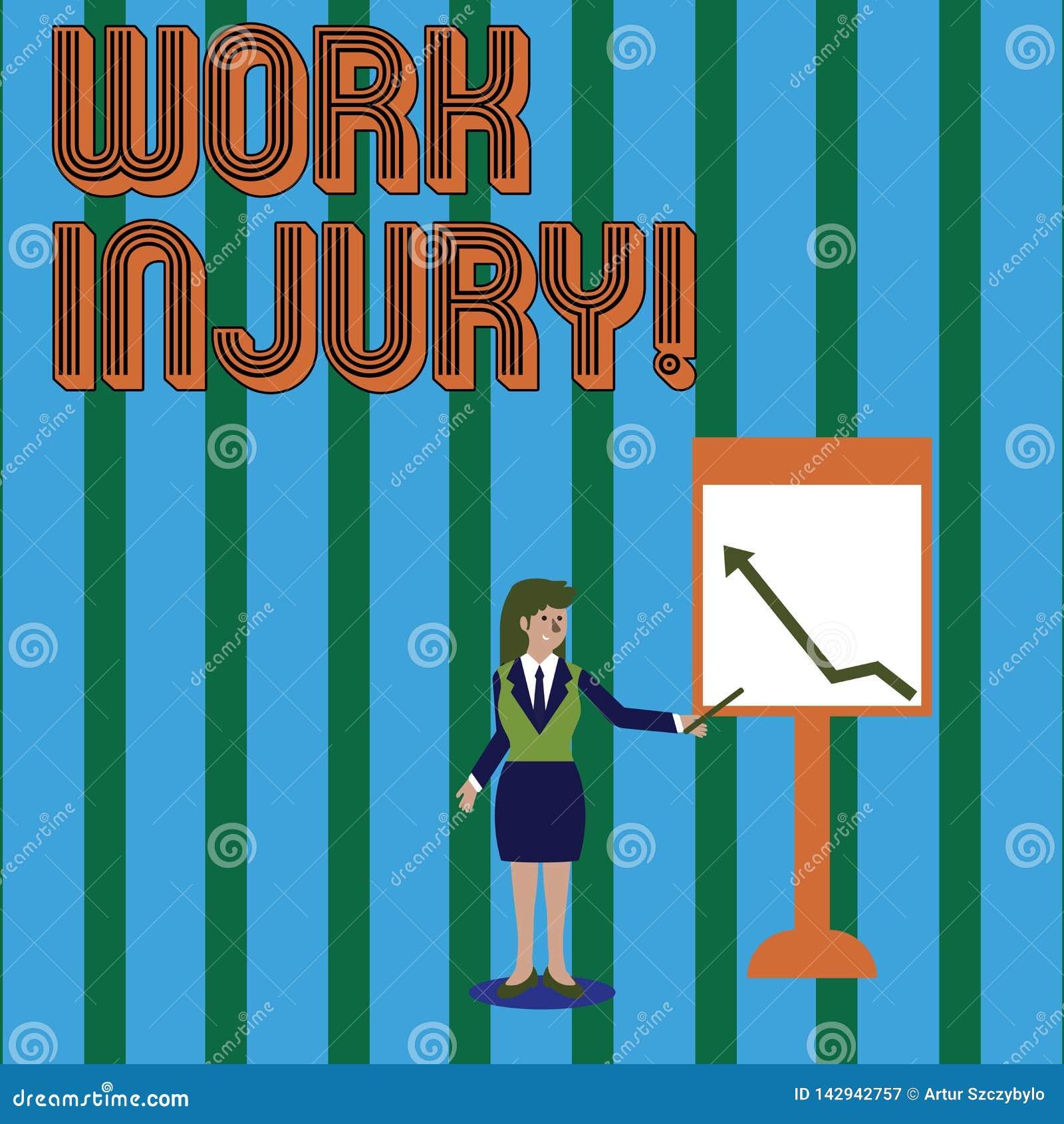 Het schrijven nota die het Werkverwonding tonen Bedrijfsfoto demonstratieongeval dat zich tijdens en als resultaat van werkende V