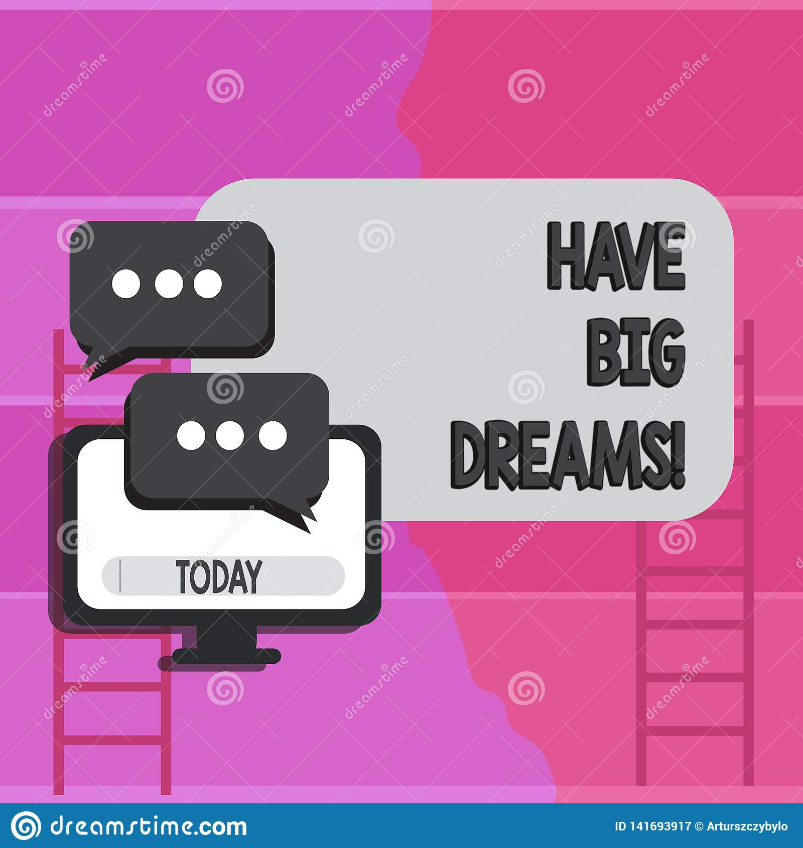 Het schrijven nota het tonen heeft Grote Dromen Bedrijfsfoto die Toekomstige Ambitie Desire Motivation Goal demonstreren