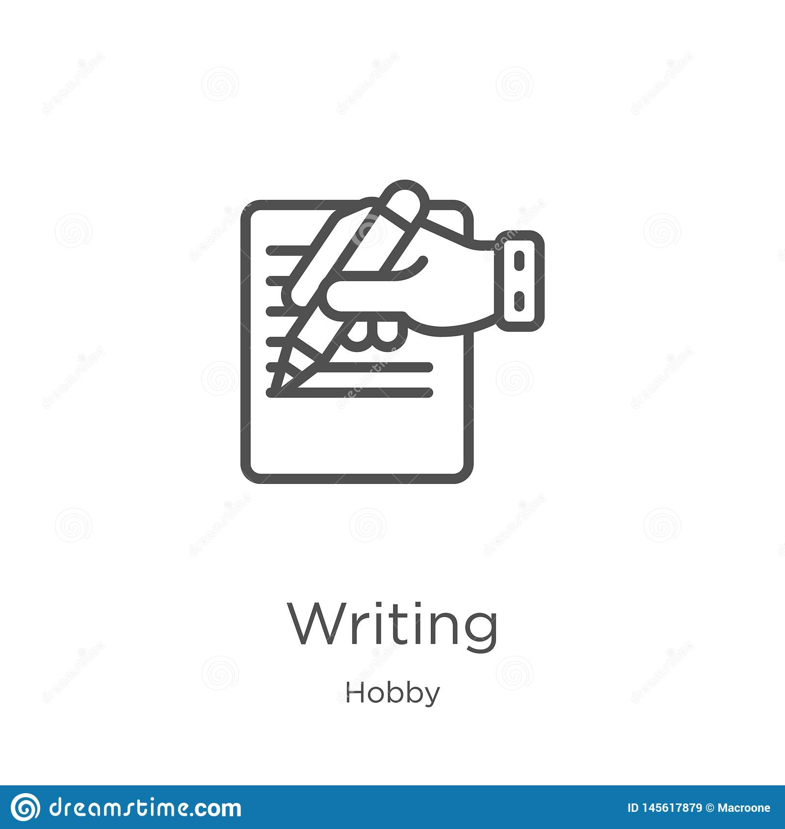 Het schrijven pictogramvector van hobbyinzameling Dun lijn het schrijven overzichtspictogram vectorillustratie Overzicht, dun lij