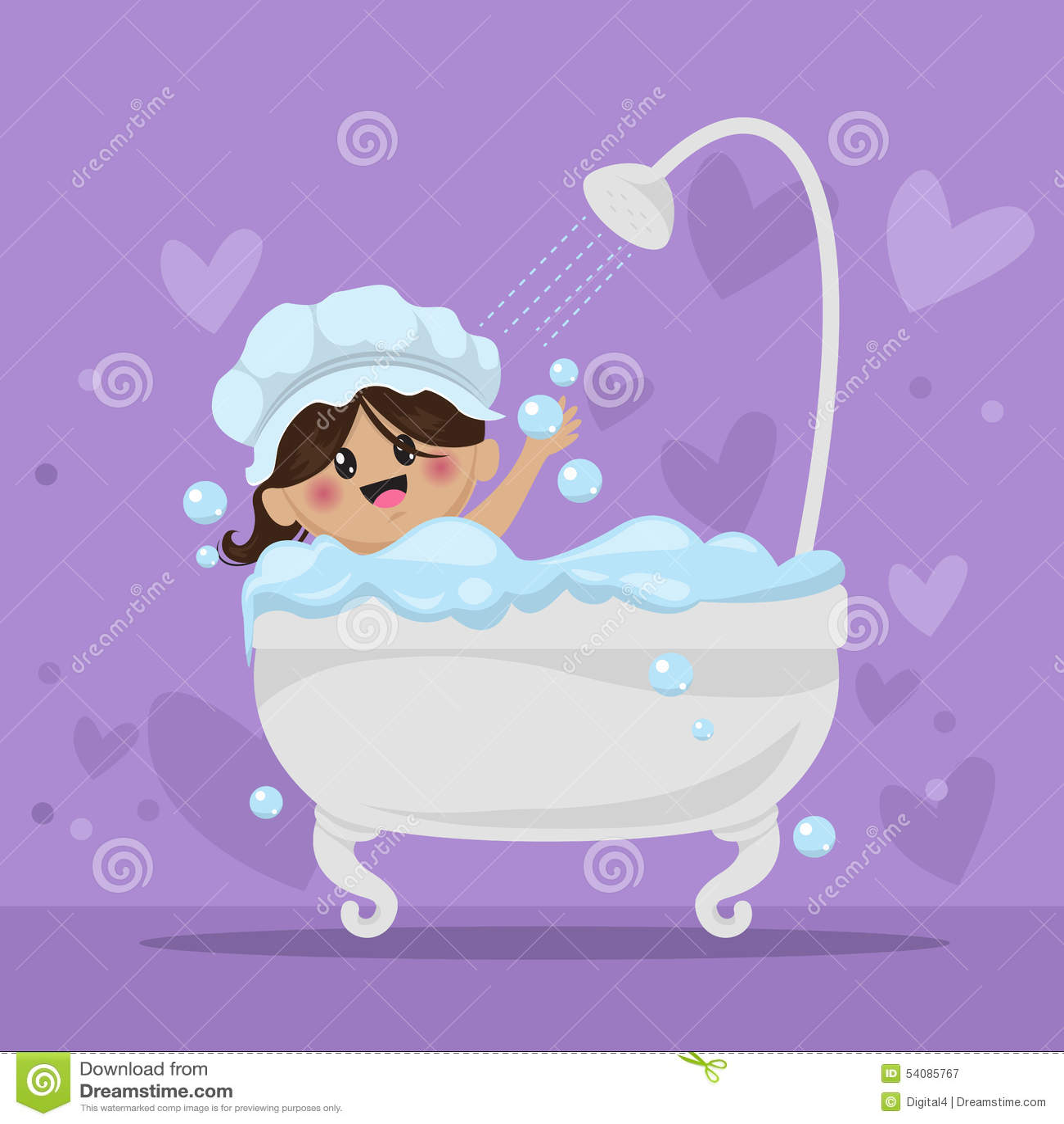 Het schuimbad van het babymeisje in de badkamers