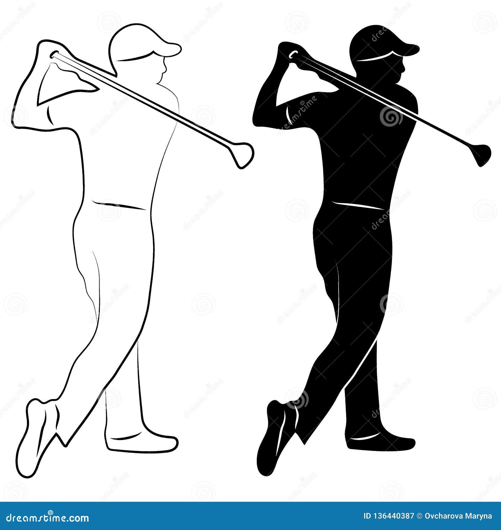 Het silhouet en de contour van de golfspeler