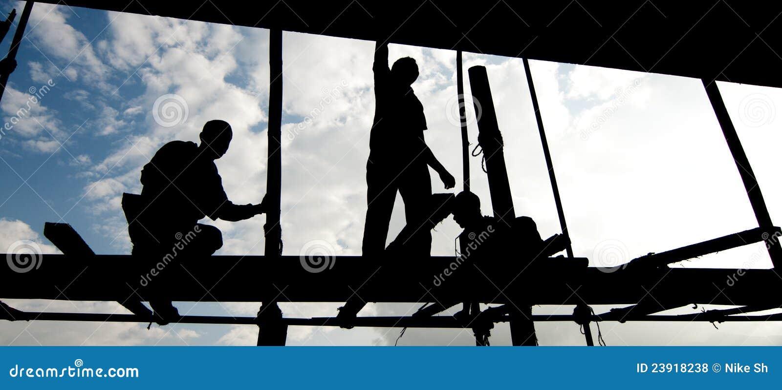 Het silhouet van de arbeider