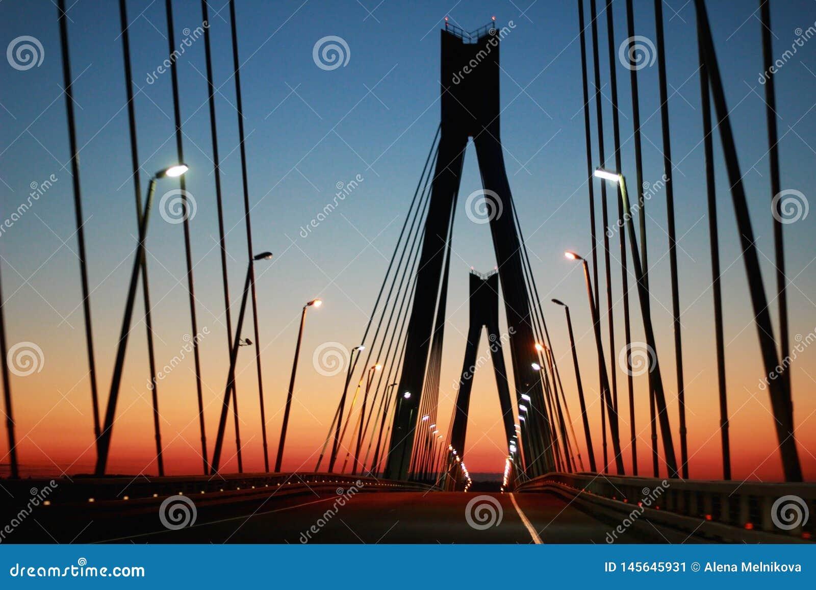 Het silhouet van de brug tegen de avondhemel