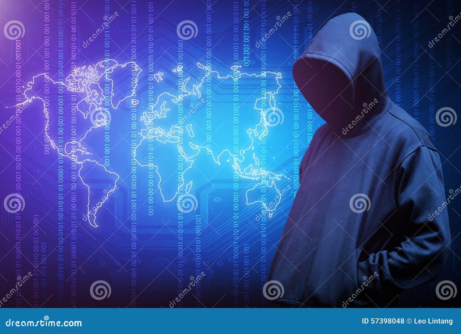 Het silhouet van de computerhakker van de mens met een kap