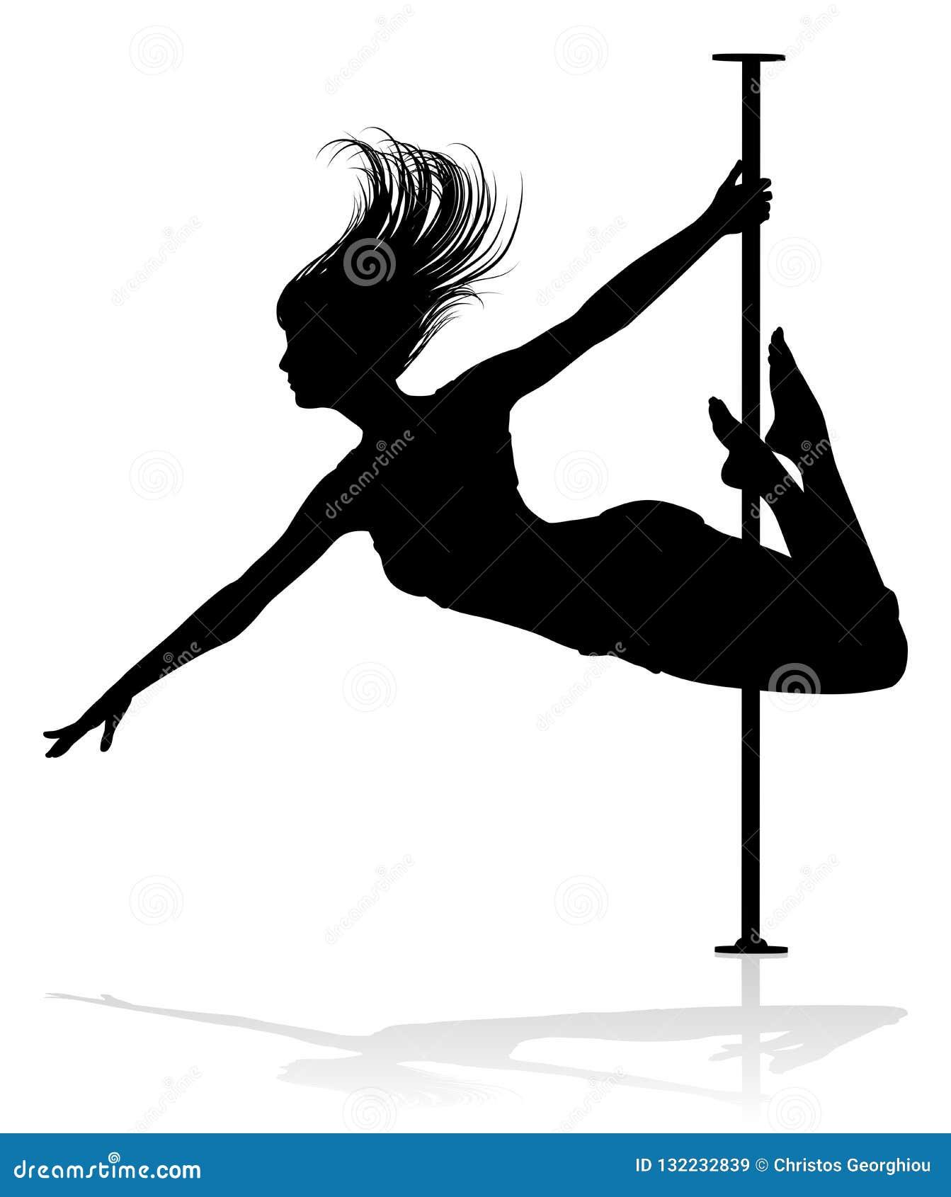 Het silhouet van de de dansersvrouw van Pool