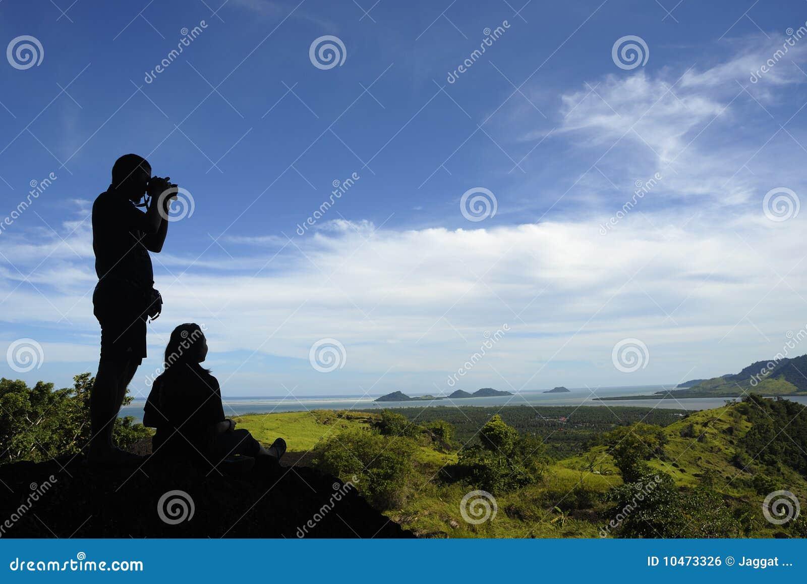 Het silhouet van de fotograaf