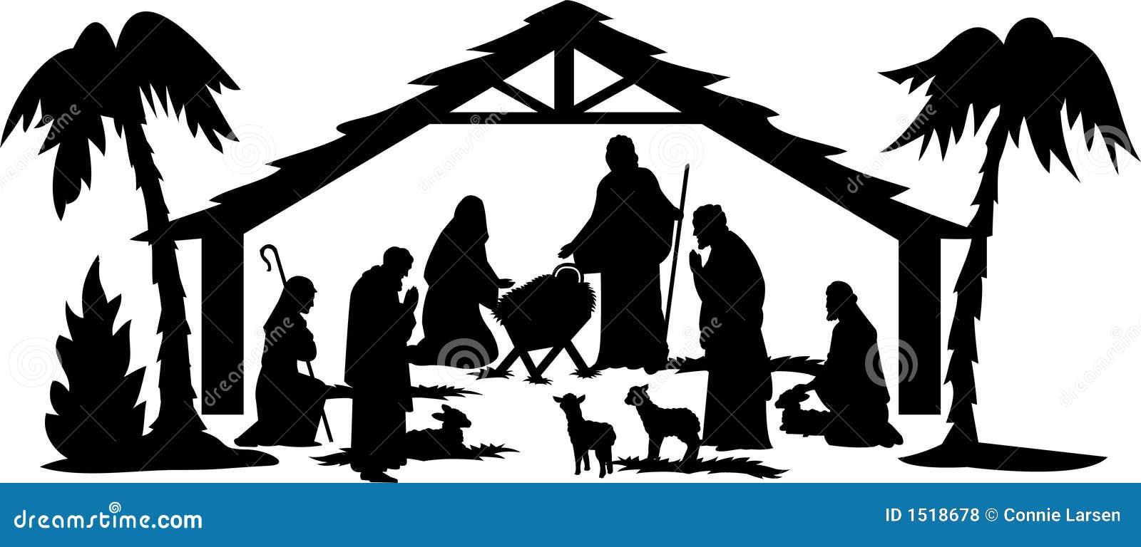 Het Silhouet van de geboorte van Christus/eps