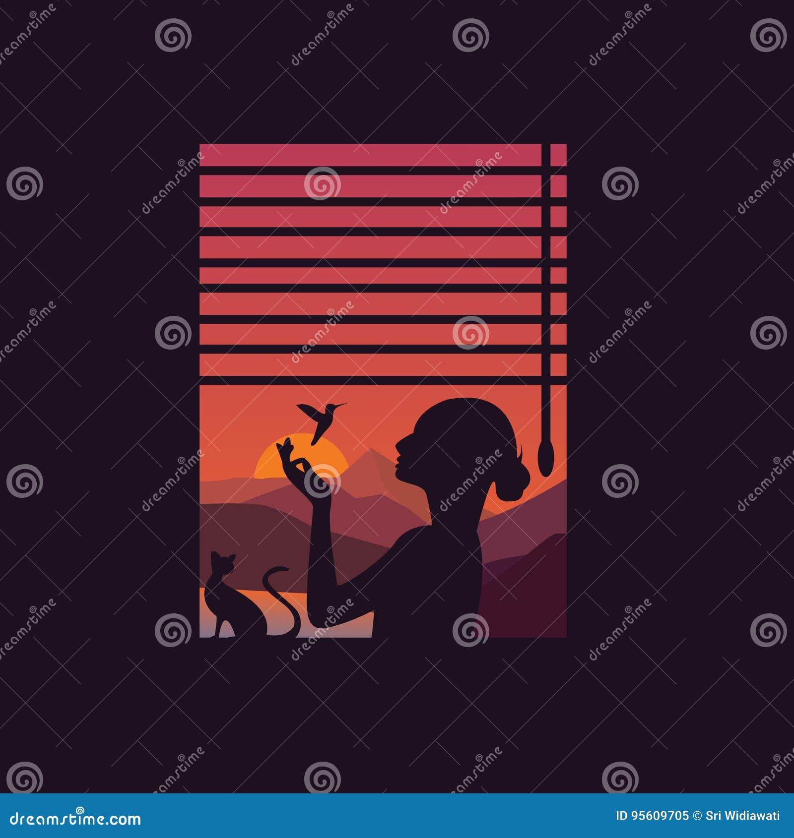 https://thumbs.dreamstime.com/z/het-silhouet-van-de-meisjesvrouw-met-vogelvlieg-achter-venster-op-de-schoonheidsconcept-van-de-zon-vastgesteld-vrijheid-95609705.jpg