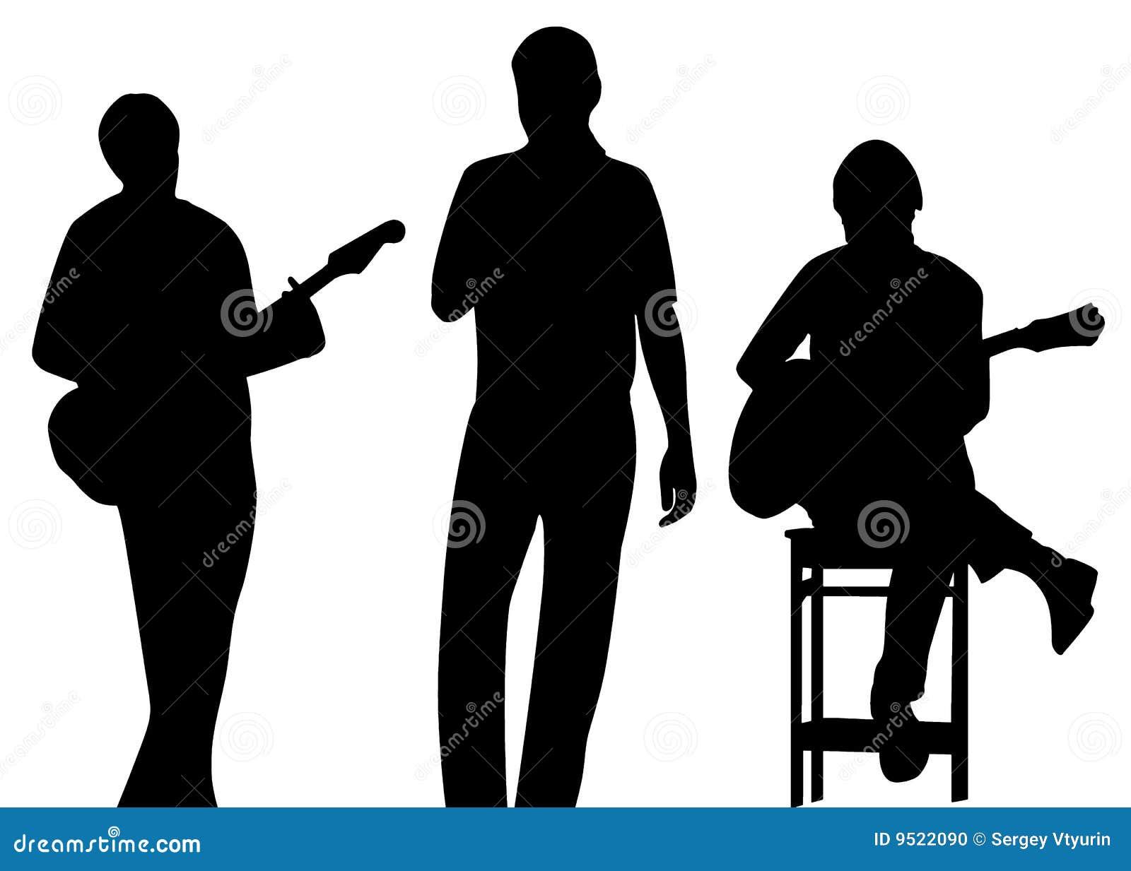Het silhouet van de musicus