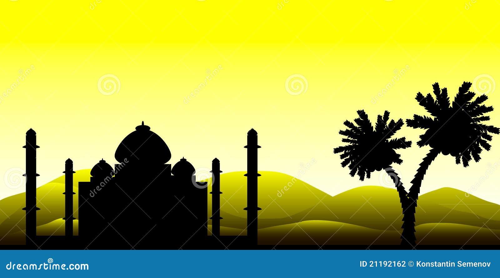 Het silhouet van een moskee in de woestijn