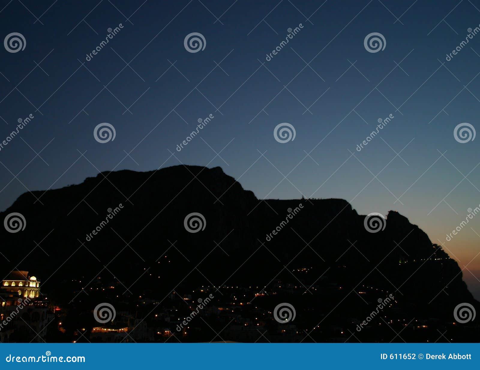 Het silhouet van het eiland