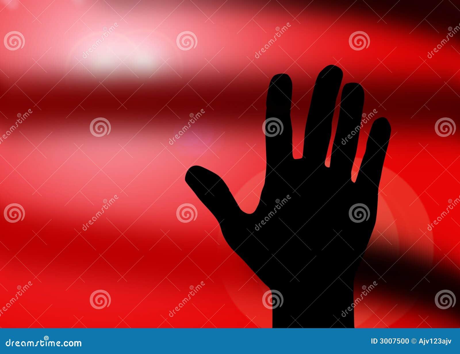 Het silhoueteinde van de hand