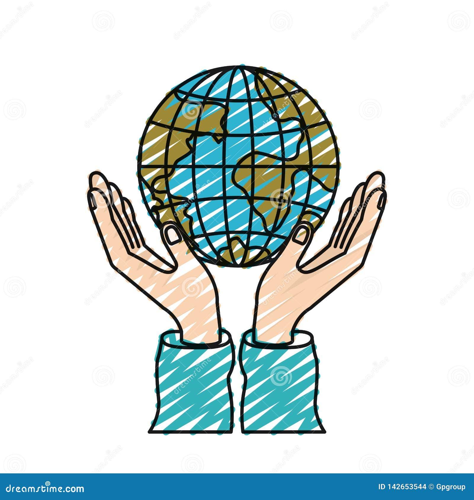 Het silhouethanden van het kleurenkleurpotlood met het drijvende symbool van de de wereldliefdadigheid van de aardebol