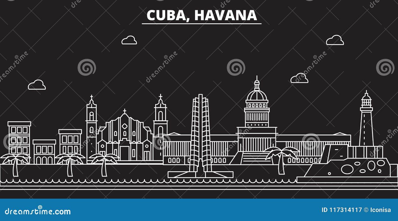 Het silhouethorizon van Havana De vectorstad van Cuba - van Havana, Cubaanse lineaire architectuur, gebouwen De reisillustratie v