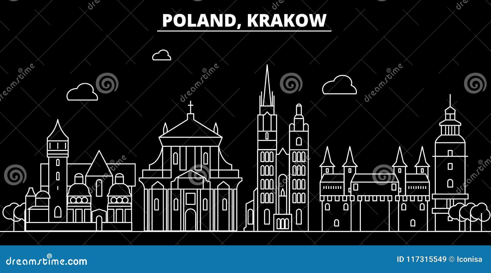 Het silhouethorizon van Krakau Polen - poetst de vectorstad van Krakau, lineaire architectuur, gebouwen op De reis van Krakau