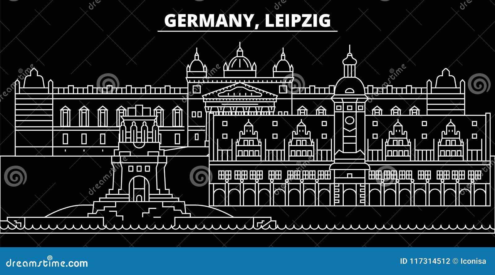 Het silhouethorizon van Leipzig De vectorstad van Duitsland - van Leipzig, Duitse lineaire architectuur, gebouwen De reis van Lei