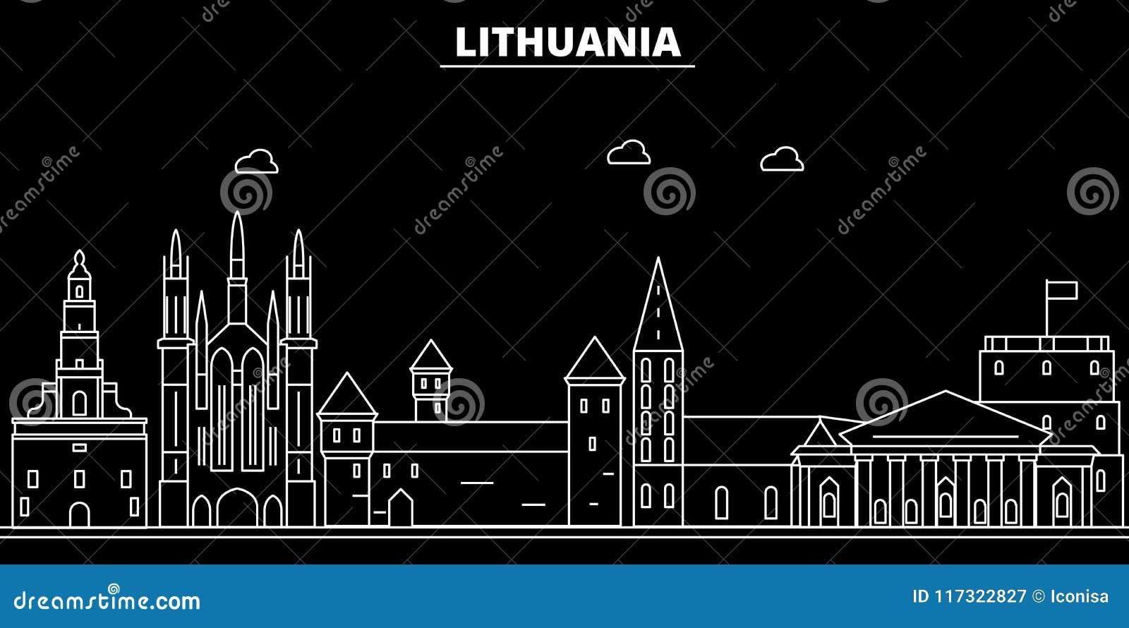 Het silhouethorizon van Litouwen, vectorstad, Litouwse lineaire architectuur, gebouwen De illustratie van de de lijnreis van Lito