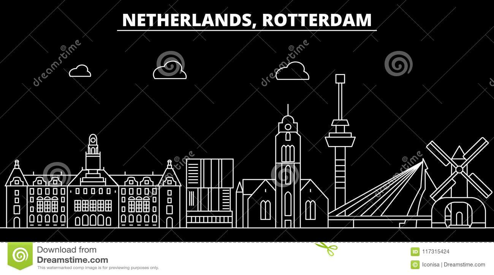 Het silhouethorizon van Rotterdam De vectorstad van Nederland - van Rotterdam, Nederlandse lineaire architectuur, gebouwen rotter