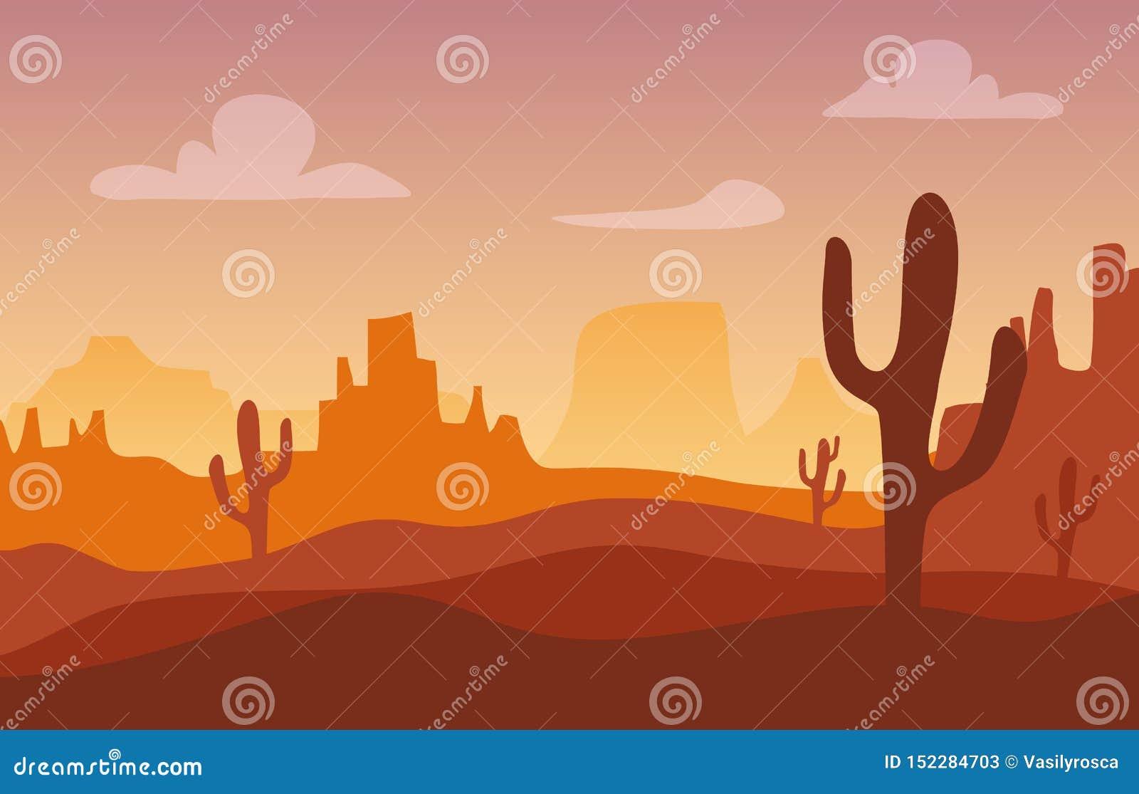Het silhouetlandschap van de woestijnzonsondergang Westelijke het beeldverhaalachtergrond van Arizona of van Mexico met wilde cac
