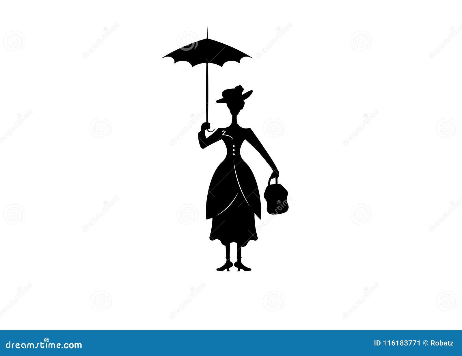 Het silhouetmeisje drijft met paraplu in zijn hand, Mary Poppins-stijl, geïsoleerde vector