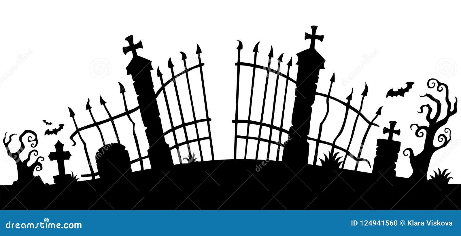 Het silhouetthema 1 van de begraafplaatspoort