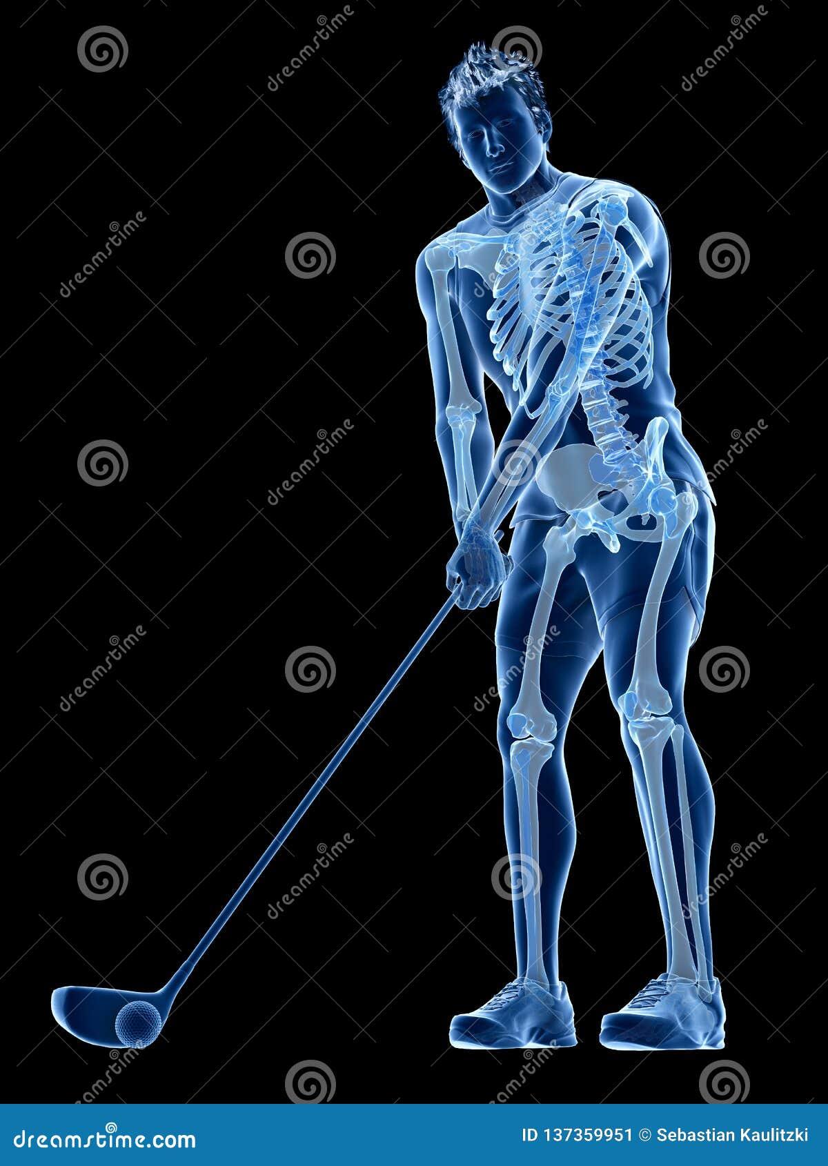 Het skelet van een golfspeler