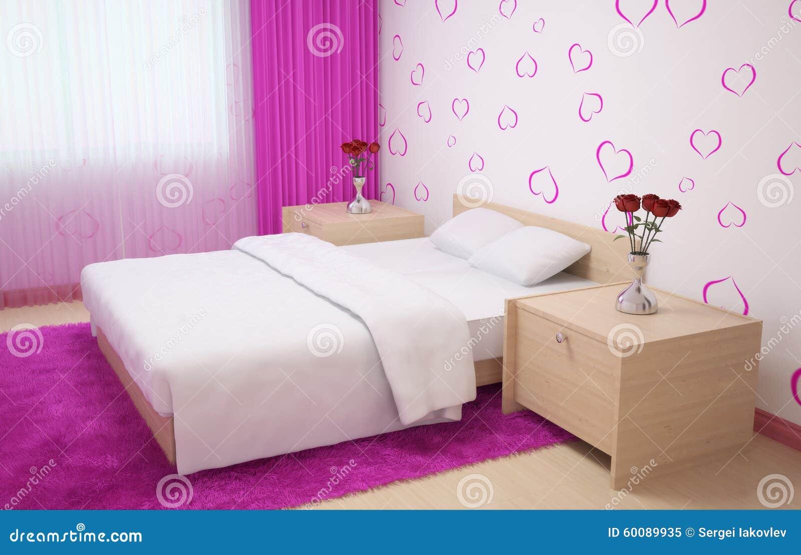 Het slaapkamerbinnenland maakte in lichte kleuren met licht houten ...