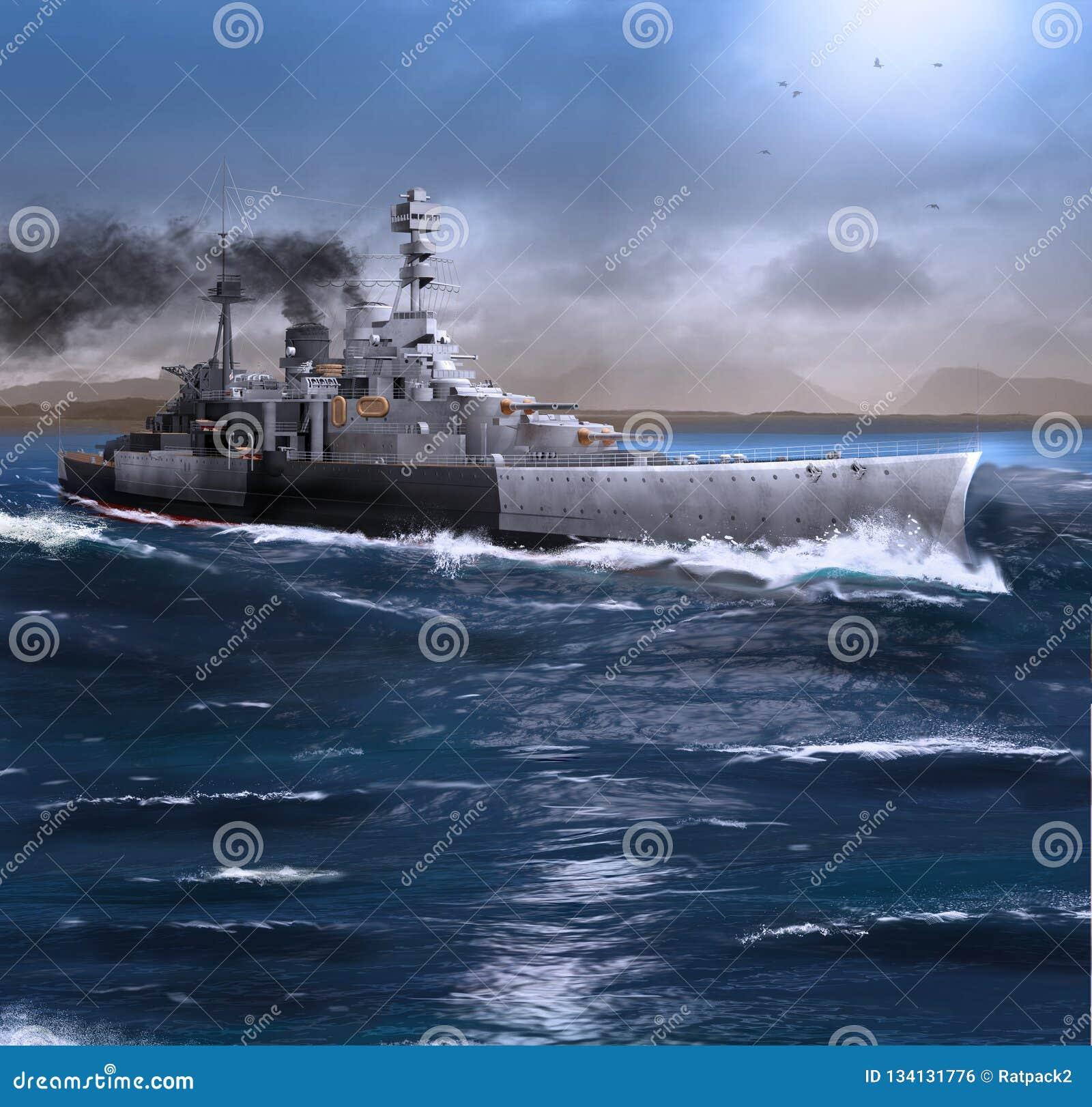 Het slagschip HMS wijst het stomen door de Oceaan af