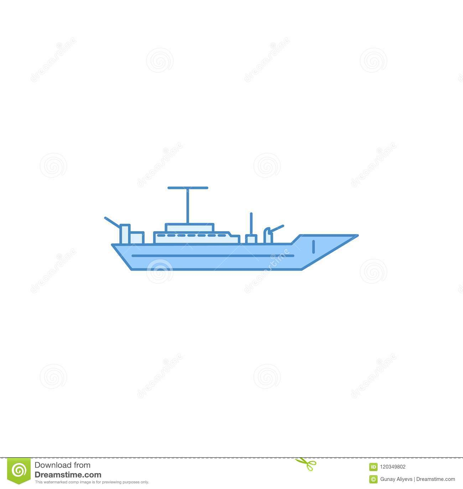 Het slagschip vulde overzichtspictogram Element van vervoerpictogram voor mobiel concept en Web apps Het dunne lijnslagschip vuld