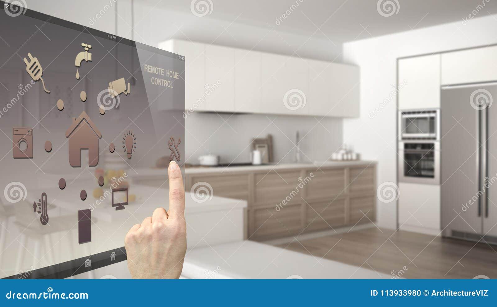 Het slimme concept van de huiscontrole, hand die digitale interface van mobiele app controleren Vage achtergrond die moderne keuk