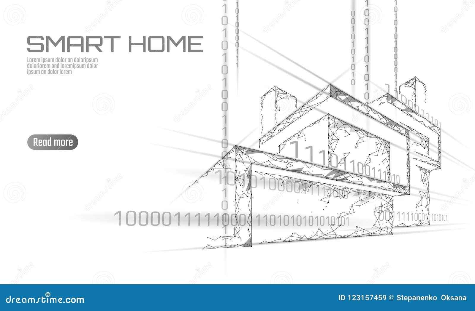 Het slimme lage polyconcept van de huis binaire code De online analyse van de controleinformatie Internet van het huis van de din