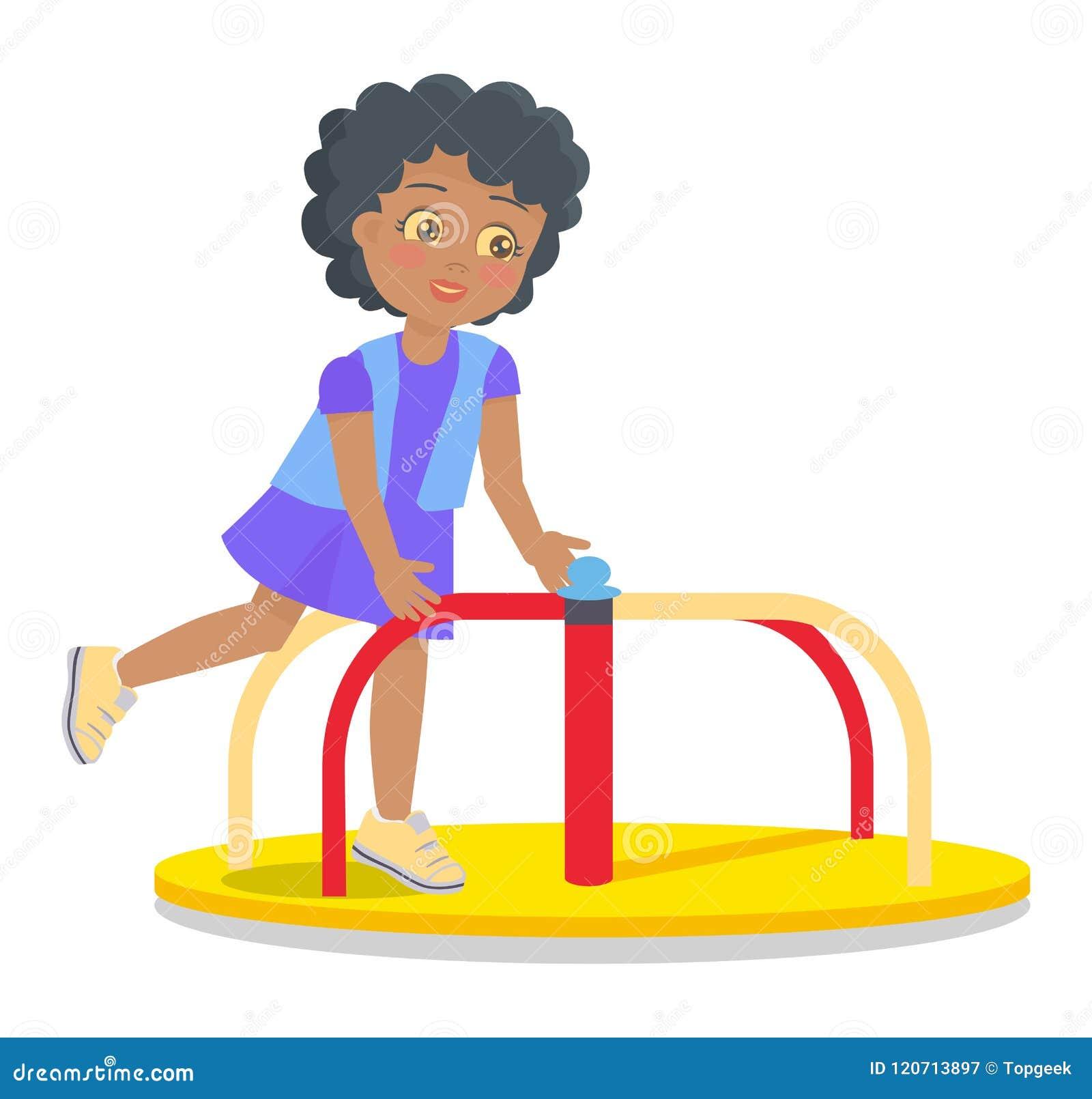 Het slingeren om Carrousel voor Kinderens Speelplaats