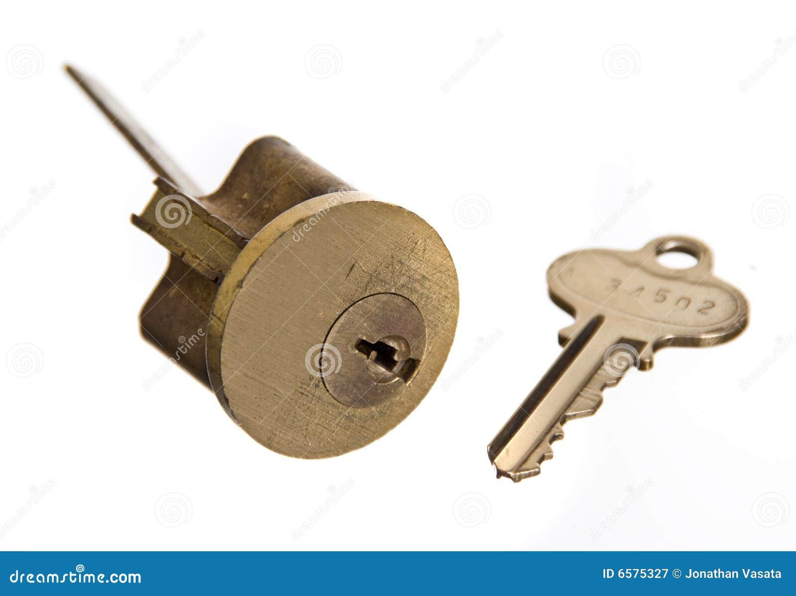 Het slot van de deur en huissleutel