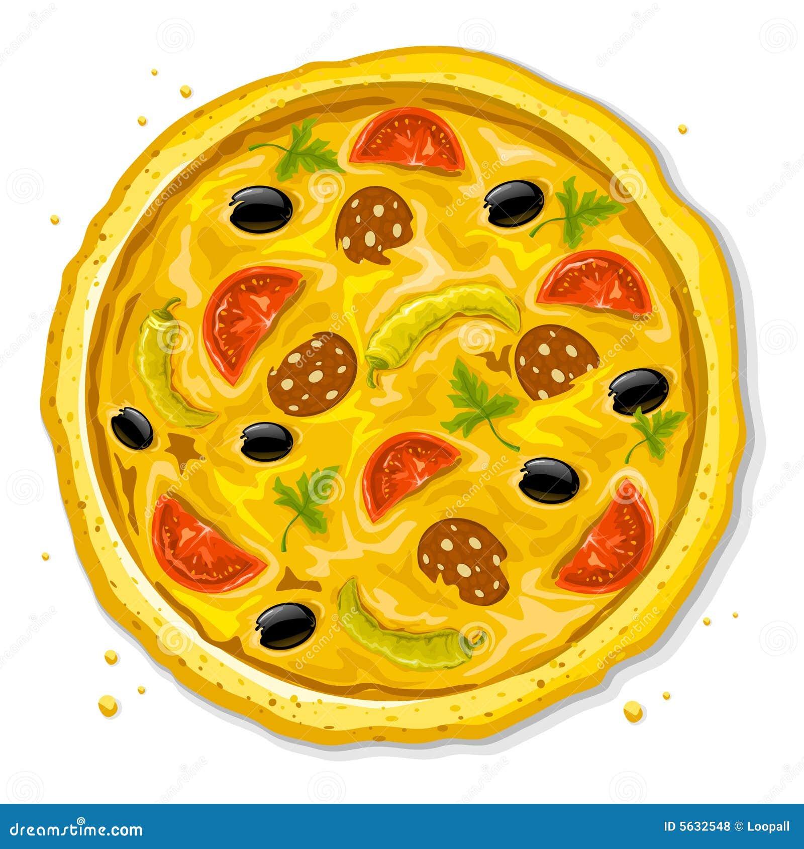 Het snelle voedsel vectorillustratie van de pizza