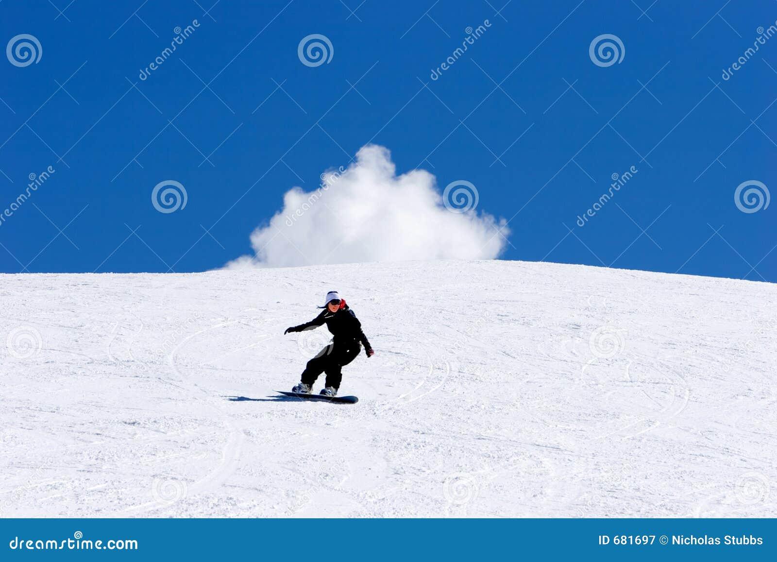 Het snowboarding van de vrouw op hellingen van Pradollano skitoevlucht in Spanje