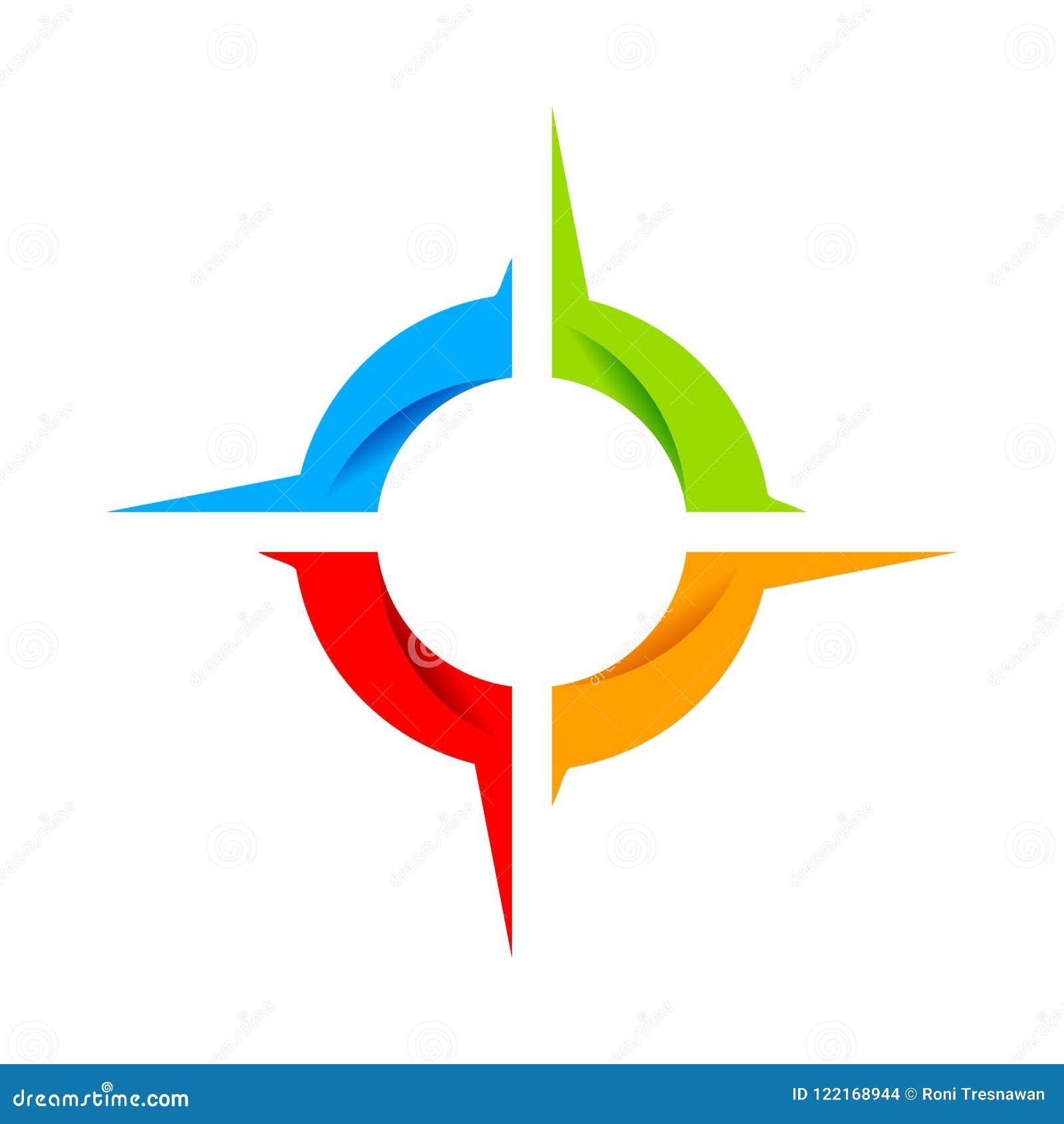 Het sociale Symbool Logo Design van het Kompaswiel